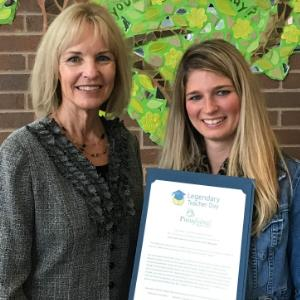 IMAGE: Courtney Weber (R), with Principal Mrs. Paddock.