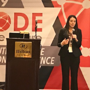 IMAGE: Maria Wine, presenting at CODE To The Future Computer Science Immersion Conference.